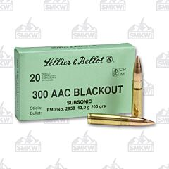 Sellier & Bellot Subsonic .300 Blackout FMJ 200 Grain 20 Rounds
