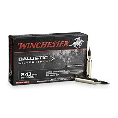 Winchester Ballistic Silvertip 243 Winchester 95 Grain Rapid Controlled Expansion Polymer Tip 20 Rounds