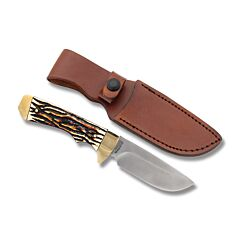 "Schrade Uncle Henry Elk Hunter with Staglon Handle and 7Cr17MoV HIgh Carbon Stainless Steel 3.875"" Drop Point Plain Edge Blade with Brown Leather Sheath Model SC182UH"