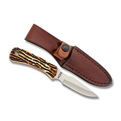 "Schrade Uncle Henry Caping Knife with Staglon Handle and 7Cr17MoV High Carbon Stainless Steel 3.125"" Caping Blade with Leather Belt Sheath Model SC301UH"