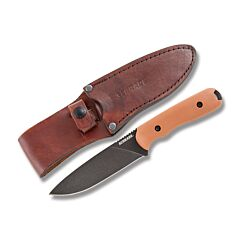 """Schrade SCHF42D Frontier Fixed Blade with Deser Tan Grivory Handle and Black Coated 1095 Carbon Steel 5.125"""" Drop Point Plain Edge Blade with Brown Leather Sheath Model SCHF42D"""