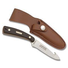 """Schrade Old Timer Sharpfinger Guthook with Brown Sawcut Composition Handle and 7Cr17MoV High Carbon Stainless Steel 3.50"""" Drop Point Guthook Plain Edge Blade and Leather Belt Sheath Model 158OT"""