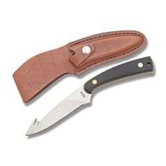 "Schrade Old Timer Guthook Skinner with SawCut Polymer Handle and 7Cr17MoV High Carbon Stainless Steel 3.75"" GutHook Plain Edge Blade and Leather Belt Sheath Model 158OTCP"