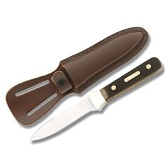 """Schrade Old Timer Boot Knife with Brown Sawcut OT Compostion Handle and 7Cr17moV High Carbon Stainless Steel 3.75"""" Spear Point Plain Edge Blade and Leather Belt Sheath Model SC162OT"""
