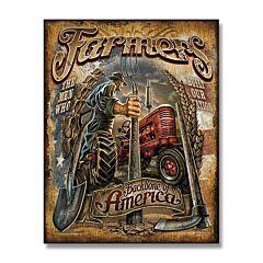 Farmers Backbone of America Tin Sign