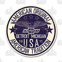 Chevrolet Detroit Michigan Circle Tin Sign