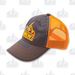 SMKW Logo Charcoal and Blaze Orange Mesh Back Hat