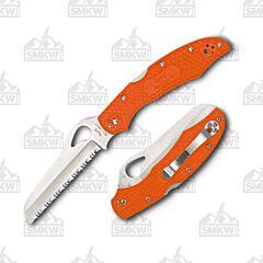 Spyderco Cara Cara 2 Rescue Knife 8Cr13MoV Stainless Steel Blade Orange Fiberglass Reinforced Nylon Handle