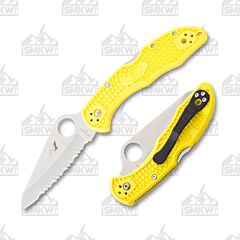 Spyderco Salt 2 H1 Stainless Steel Serrated Blade Yellow FRN Handle