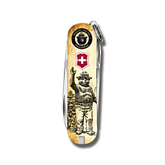 "Victorinox Swiss Army Classic SD Smokey Bear Series 2.25"" with Waving Smokey Printed ABS Handle and Stainless Steel Blades and Tools Model STBV583"