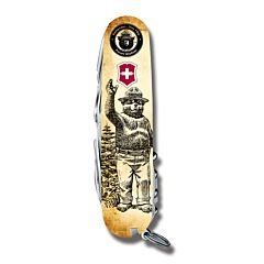 "Victorinox Swiss Army Tinker Smokey Bear Series 3.625"" with Waving Smokey Printed ABS Handles and Stainless Steel Blades and Tools Model STBV913"