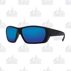 Costa Tuna Alley Sunglasses Blackout Plastic Frame Blue Mirror Polarized Glass Lenses