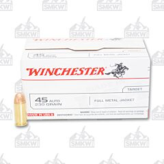 Winchester USA Ammo 45 Auto 230 Grain Full Metal Jacket 100 Rounds