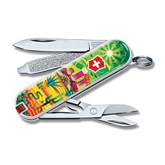 "Victorinox 2018 Contest Limited Edition Mexican Sunset Mexico Classic SD 2.25"" with Composition Handles and Stainless Steel Plain Edge Blades Model 0.6223.L1807"