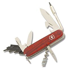 "Victorinox Swiss Army Cybertool 3.625"" with Translucent Ruby Composition Handle and Stainless Steel Blades and Tools Model 54919"