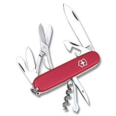 """Victorinox Swiss Army Climber 3.625"""" with Red Composition Handle and Stainless Steel Blades and Tools Model 56381"""