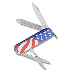 "Victorinox Swiss Army Classic SD USA Flag 2.25"" with Composition Handle and Stainless Steel Blade and Tools Model 57216"