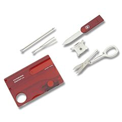 "Victorinox Swisscard Lite 3.25"" with Translucent Ruby Construction and Stainless Steel Blade and Tools Model 57331"