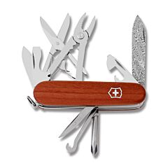 "Victorinox 3.625"" Deluxe Tinker Damast Limited Edition 2018 with Plum Wood Handle and Damast Steel Spear Point Plain Edge Blade Model 1.4721.J18"