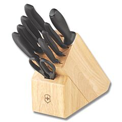 Victorinox Cutlery 10pc Kitchen Block Set with Black Synthetic Handle and Stainless Steel Blade Model 6.7000.10US1