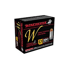 Winchester W Defend Reduced Recoil 380 ACP 95 Grain Jacketed Hollow Point 20 Rounds