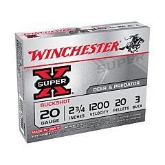 """Winchester Super-X 20 Gauge 2-3/4""""  Buffered #3 Buckshot 20 Pellets 5 Rounds"""