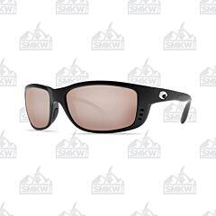 Costa Zane Sunglasses Matte Black Plastic Frame Copper Silver Mirror Polarized Glass Lenses