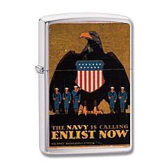 Zippo Enlist Now Navy Retro WWII Recruiting Poster Lighter Model 29597
