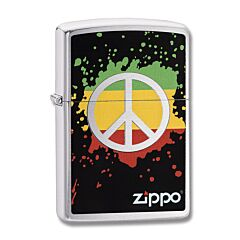 Zippo Peace Brushed Chrome Lighter