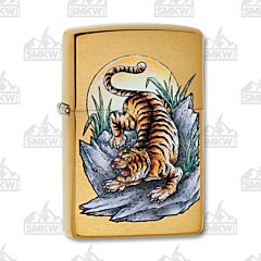 Zippo Tiger Tattoo Design Brushed Brass Lighter