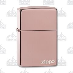 Zippo High Polish Rose Gold Logo Lighter