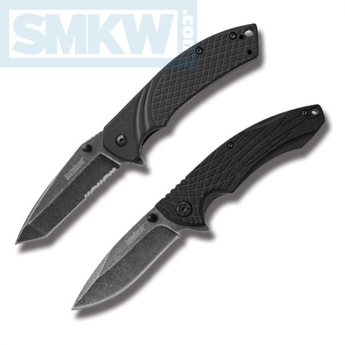 Kershaw 2 Piece Assisted Opener Knife Set Black GFN Handles Blackwashed  4Cr14 Stainless Steel Blades Model 1322KITX | Smoky Mountain Knife Works