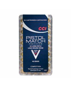 CCI Pistol Match 22 LR 32 Grain Copper Plated Hollow Point 50 Rounds