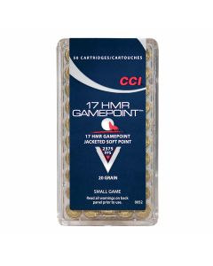 CCI Gamepoint 17 Hornady Magnum Rimfire 20 Grain Jacketed Hollow Point 50 Rounds
