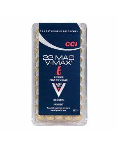 CCI V-Max 22 Winchester Magnum Rimfire 30 Grain Poly-Tip V-Max 50 Rounds