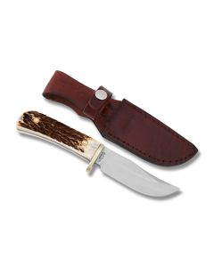 """Uncle Henry Fixed Blade Hunting Knife with Stag Handle and D2 Tool Steel 4"""" Clip Point Blade Model 1085925/2204UH"""