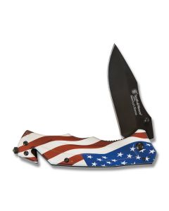 Smith and Wesson America's Heros Linerlock Black 3Cr13 Stainless Steel Blade Red, White, and Blue Aluminum Handles