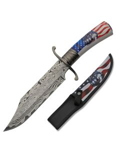 Szco Wolf Flag Bowie Stainless Steel Blade Composition Handle