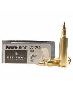 Federal Power-Shok 22-250 Remington 55 Grain Soft Point 20 Rounds