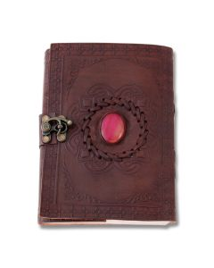 "SZCO Supplies Pink Onyx Journal 5""x7"" Leather Bound with Lock Model 242583"