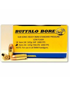Buffalo Bore 9mm Luger 147 Grain Full Metal Jacket Flat Nose 20 Rounds