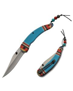 Szco Spirit Assisted Opening Linerlock Stainless Steel Blade Blue Composition Handle