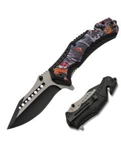 Szco Artistic Assisted Opening Dragon Linerlock Stainless Steel Blade Black Composition Handle