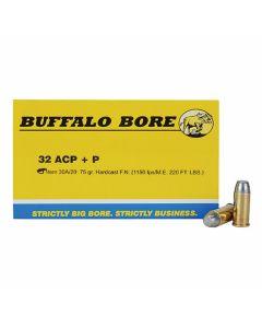Buffalo Bore 32 ACP +P 75 Grain Flat Nose 20 Rounds