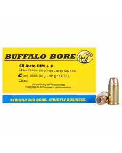 Buffalo Bore 45 Auto Rim (NOT ACP) 200 Grain Jacketed Hollow Point 20 Rounds