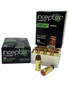 Polycase Inceptor Firefly Tracer 40 S&W 110 Grain Round Nose 20 Rounds