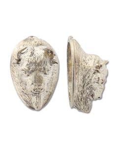 Swan Lake Knives Nickel Silver Bison Head Pommel #4 Model 440007N