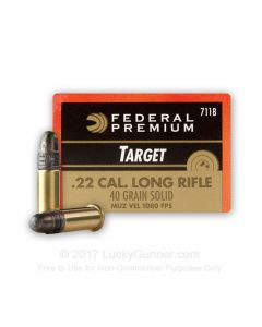 Federal Premium Gold Medal Subsonic 22 LR 40 Grain Solid Point 500 Rounds
