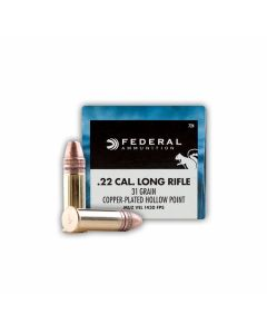 Federal Game Shok 22 LR 31 Grain Copper-Plated Hollow Point 500 Rounds