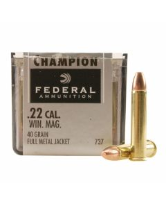 Federal Champion 22 Winchester Magnum Rimfire 40 Grain Full Metal Jacket 50 Rounds